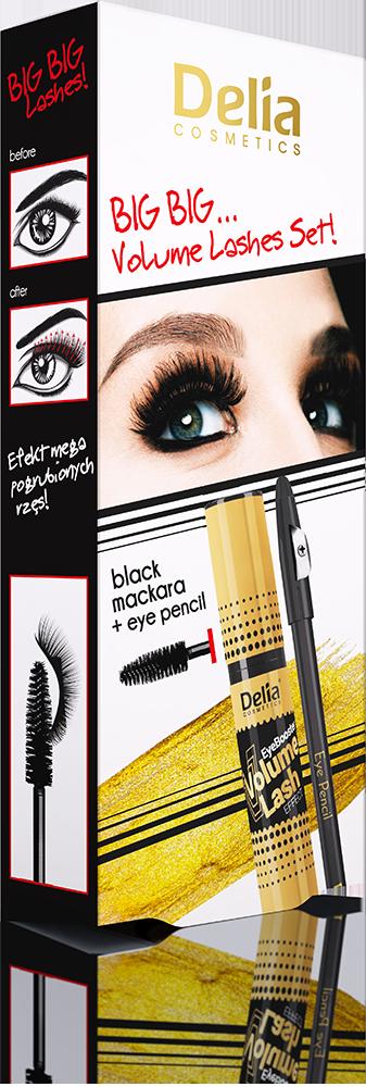 Delia Big Big Gold Řasenka černá Volume14ml a tužka na oči černá dárková sada