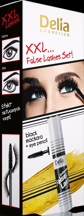 Delia XXL Silver Řasenka intenzivně zhušťující a prodlužující černá 14ml +tužka na oči černá dárková sada