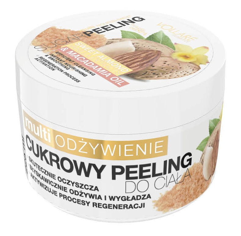 VOLLARE Tělový cukrový peeling mandlový s makadamovým olejem 225ml
