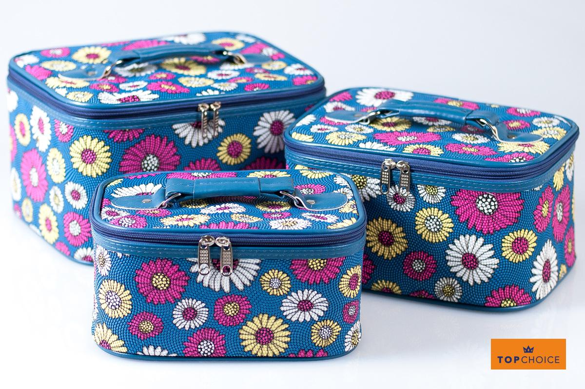 2621f6e1a Kosmetický kufřík PATTERN květovaný modrý 95504 27x20x15,5cm