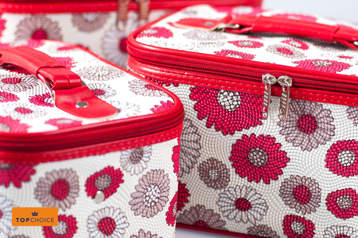 8e25ed19e TOP CHOICE Kosmetický kufřík PATTERN květovaný bílý 95429 24,5x17x13cm