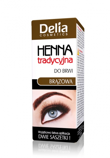 Delia HENNA prášková barva na obočí a řasy hnědá 1.5g