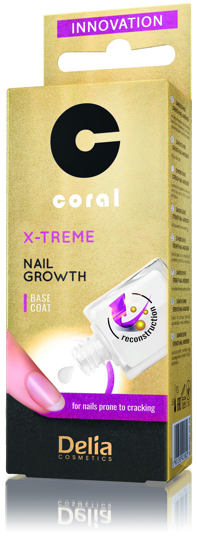 Delia Coral výživa na nehty X-treme base coat s podporou růstu nehtů 11 ml