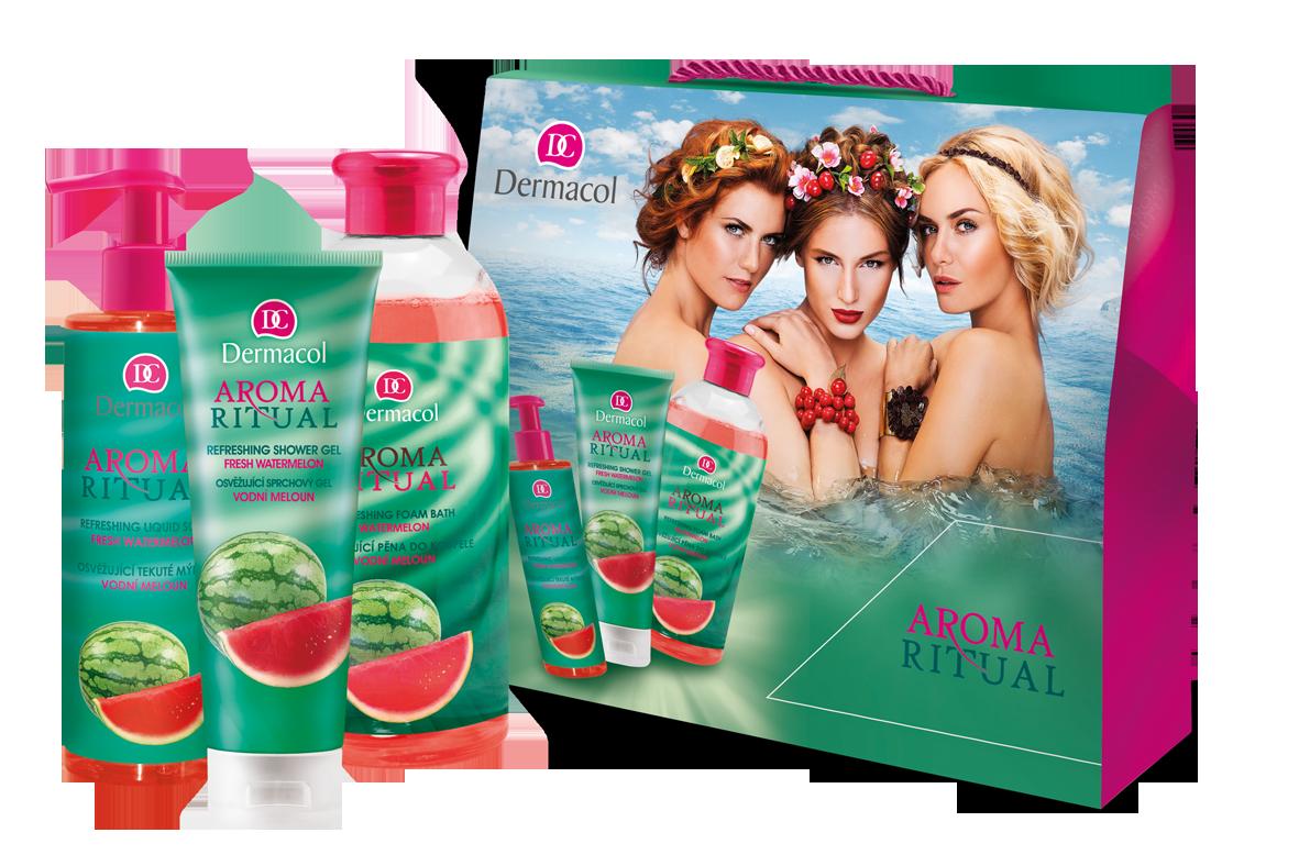 Dermacol AROMA RITUAL Vodní meloun I Sprchový gel 250ml + pěna do koupele 500ml + tekuté mýdlo 250ml.dárková sada
