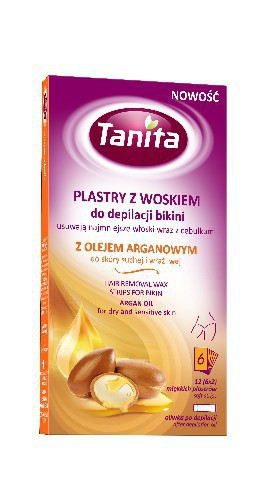 TANITA voskové pásky na tělo bikiny s arganovým olejem 12 ks 10 ml