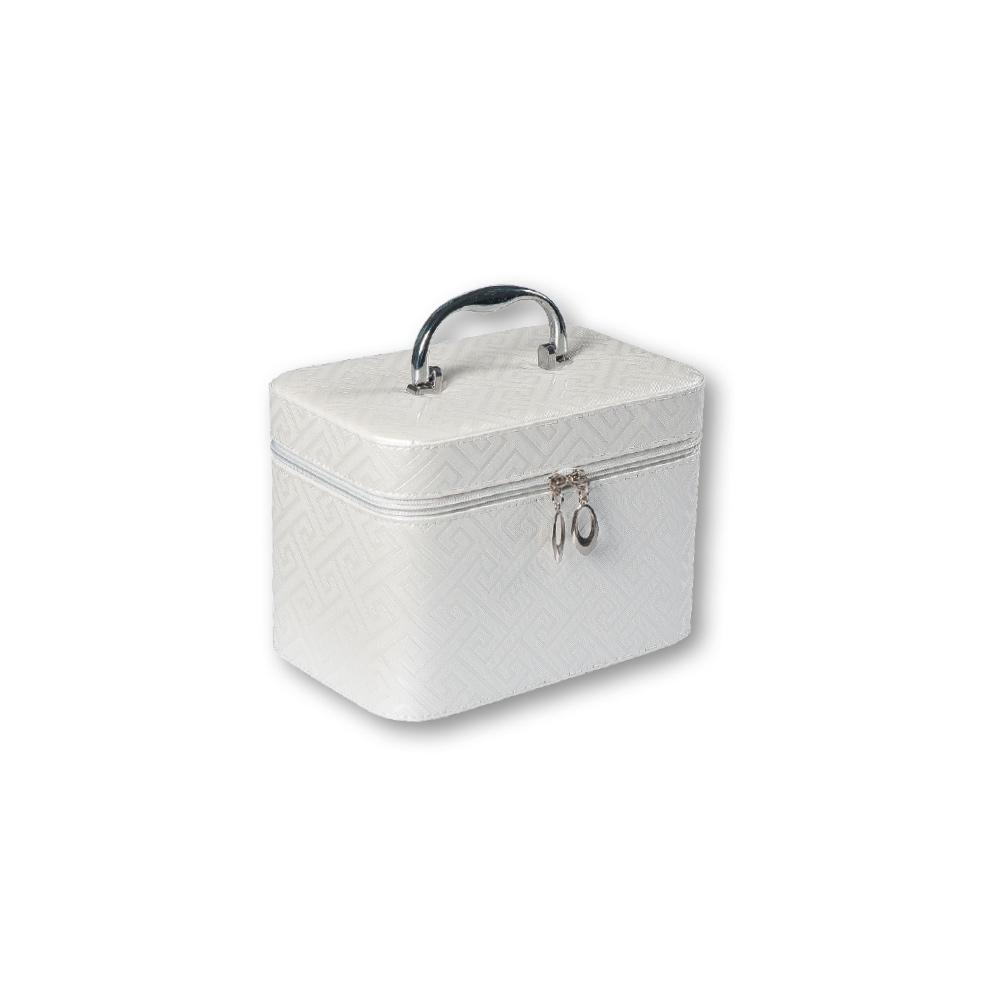 TOP CHOICE Kosmetický kufřík Geometric bílý S 19x10,5x11,5cm