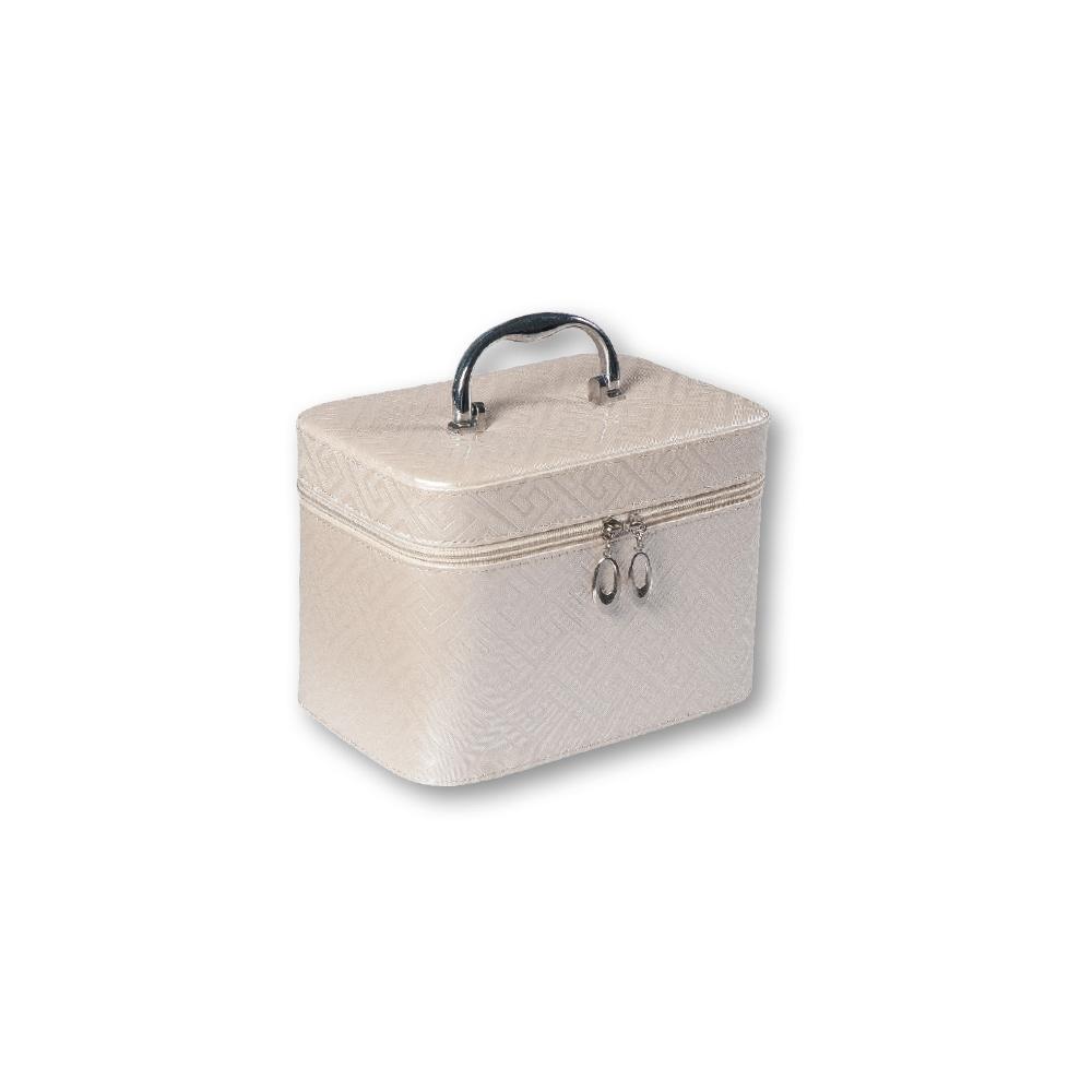TOP CHOICE Kosmetický kufřík Geometric beige S 19x10,5x11,5cm